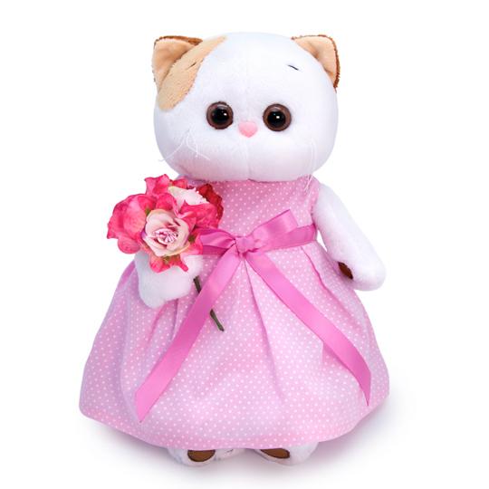 Кошечка Ли-Ли в розовом платье с букетом