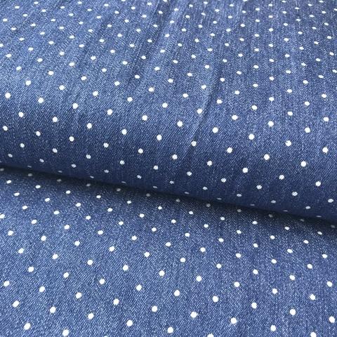 Ткань джинса с эластаном в мелкий горошек 2083