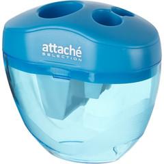 Точилка Attache Selection тройная с контейнером голубая