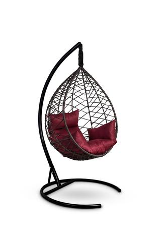 Подвесное кресло-кокон ALICANTE коричневое + каркас + бордовая подушка