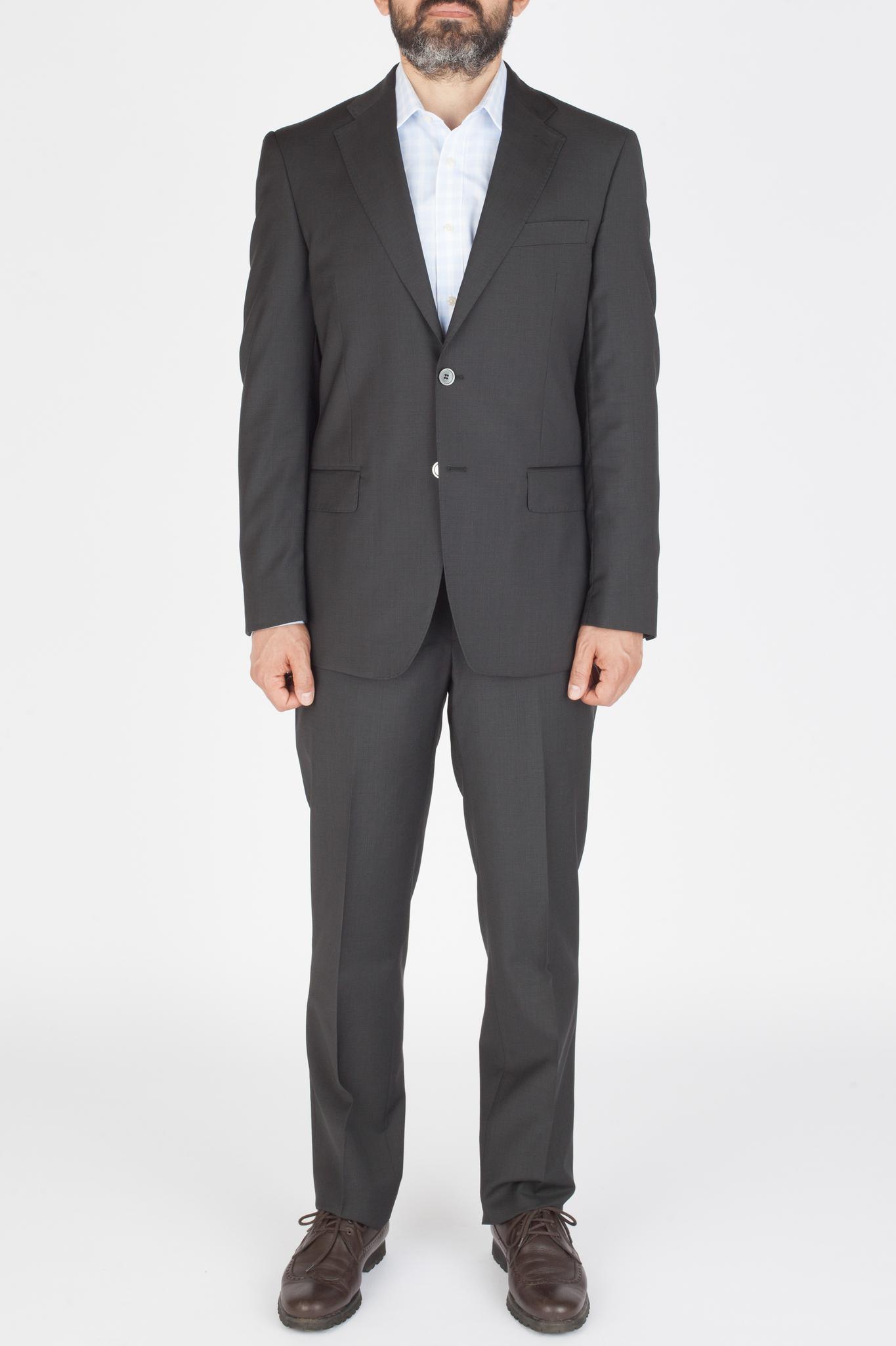 Чёрно-серый костюм из 100%-ной шерсти