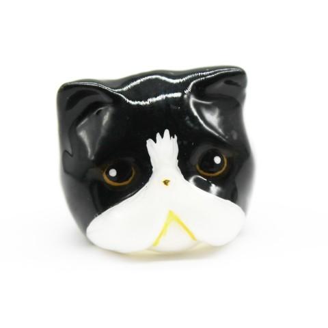 Кольцо Персидская кошка (черно-белая)