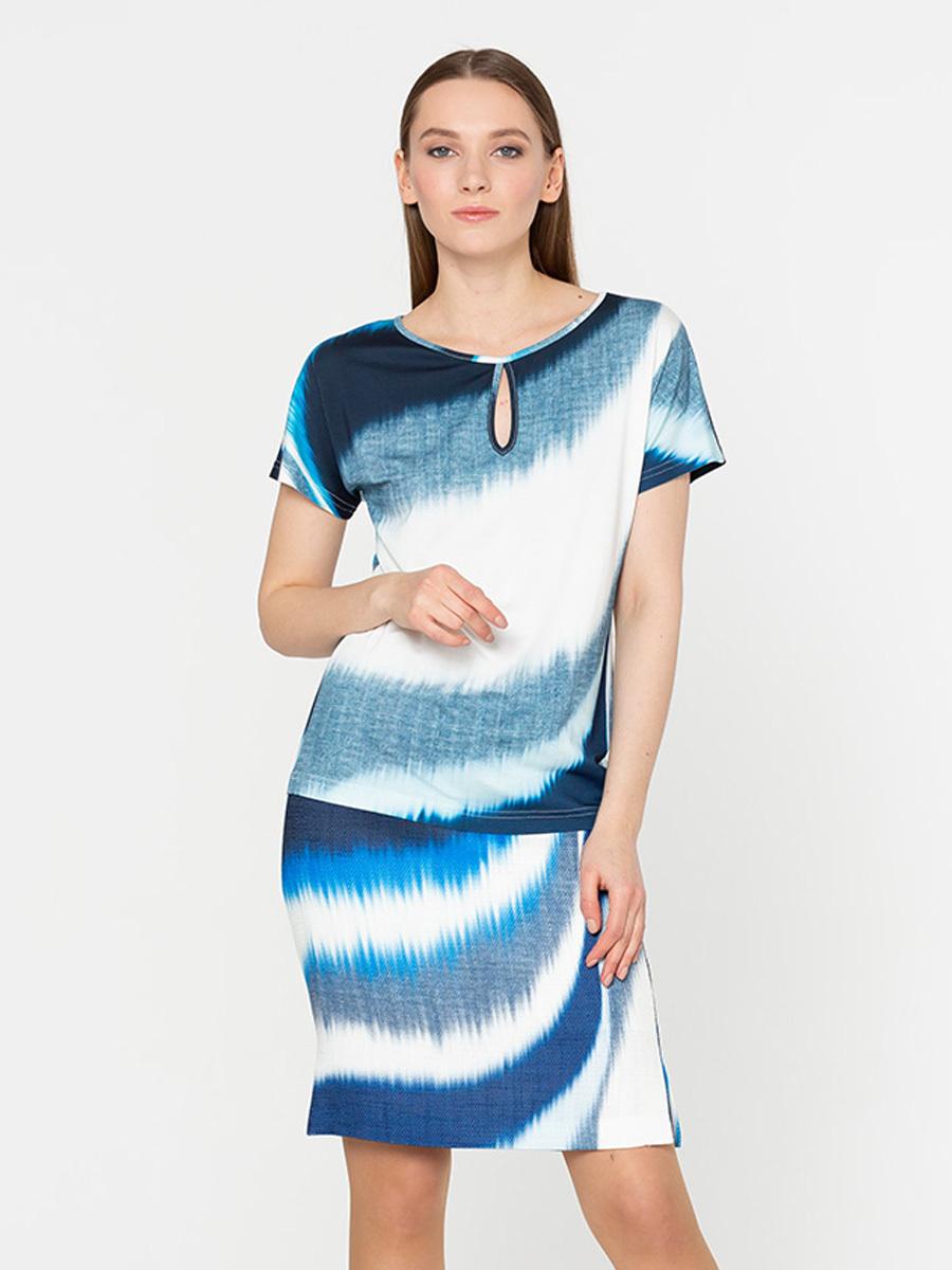 Юбка Б077-500 - Прямая юбка с необычным оригинальным принтом