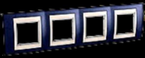 Рамка на 4 поста. Цвет Индиго/Белый. Schneider electric Unica Хамелеон. MGU6.008.842