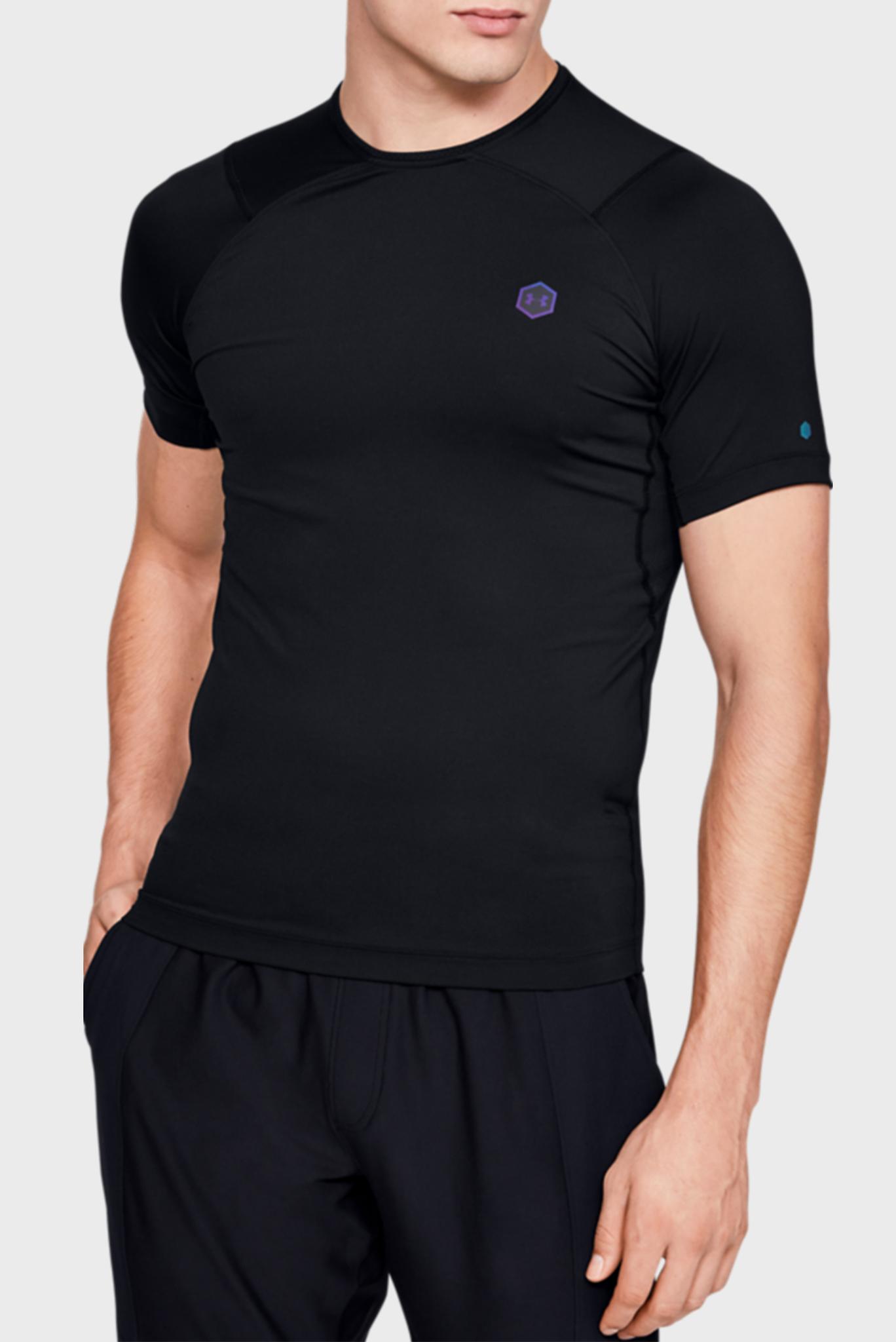 Мужская черная компрессионная футболка UA HG Rush Compression SS Under Armour