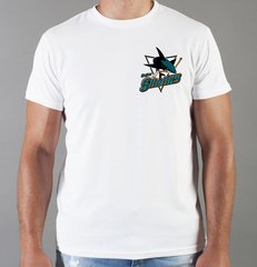 Футболка с принтом НХЛ Сан-Хосе Шаркс (NHL San Jose Sharks) белая 0012
