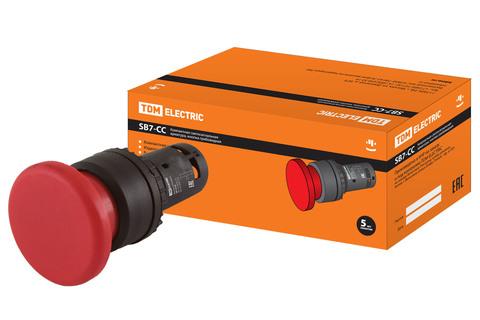 Кнопка грибовидная SB7-CC45 d35мм 1з+1р красная TDM