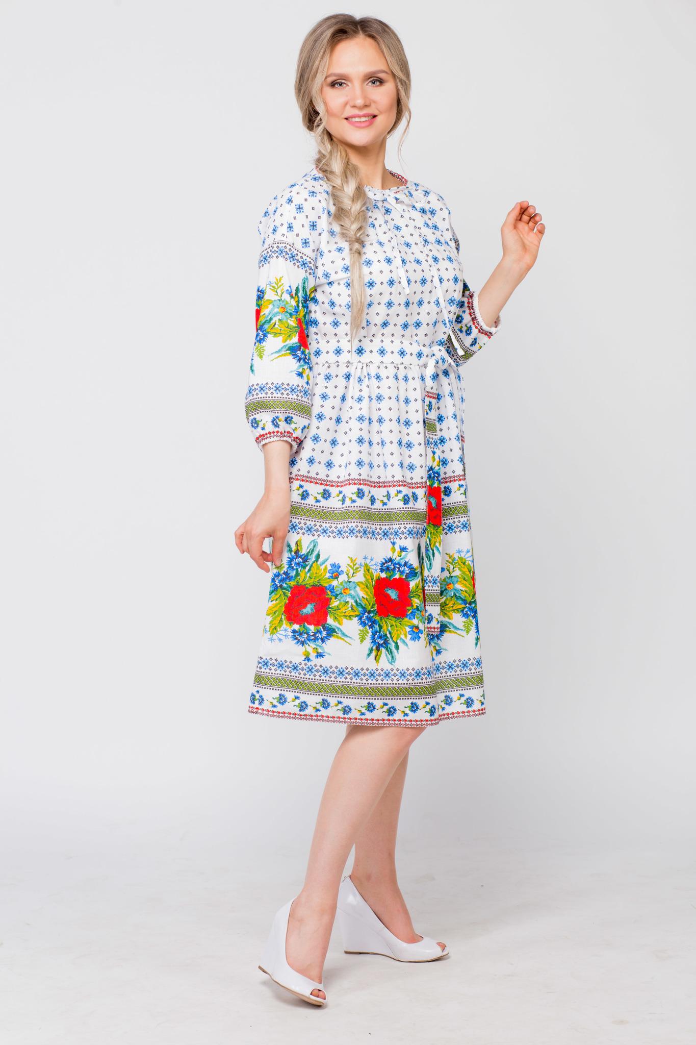 Платье льняное Маки-васильки в интернет-магазине