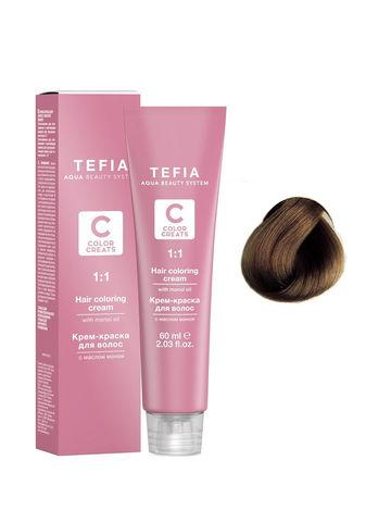 Крем-краска для волос с маслом монои 6.8 темный блондин шоколад 60 мл COLOR CREATS Tefia