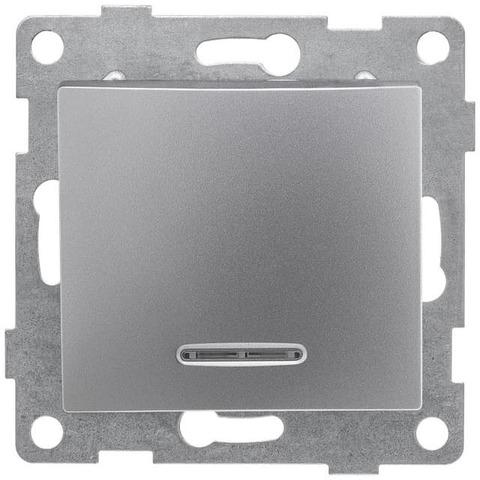 Выключатель одноклавишный с подсветкой, 10 А 220/250 В~. Цвет Серебро. Bravo GUSI Electric. С10В18-004