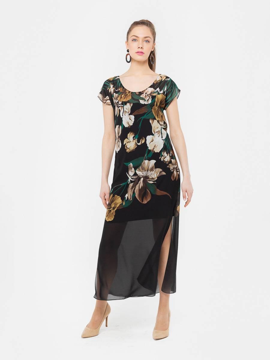 Платье З035-174 - Длинное платье из прозрачного шифона с глубокими разрезами по бокам и округлым вырезом. Яркий, цветочный принт на черном фоне смотрится эффектно и стильно. Подойдет как для повседневного образа, так и для торжественного мероприятия. В комплекте трикотажное, нижнее платье на бретелях.