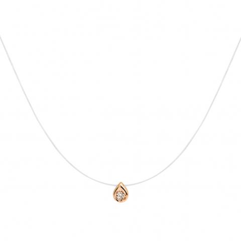 01Л611610- Капля из золота 585 с бриллиантом на леске-невидимке
