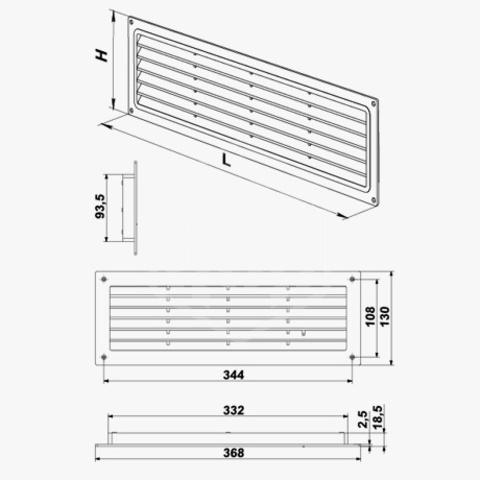Решетка накладная 370х130 мм Vents МВ 350