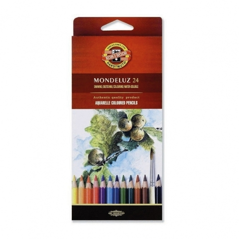 Набор акварельных цветных карандашей Koh-I-Noor 3718 Mondeluz в картонной коробке, 24 цвета