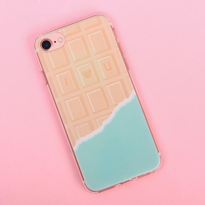 Чехол для телефона iPhone 7 с рельефным нанесением I love you, 6.5 14 см фото