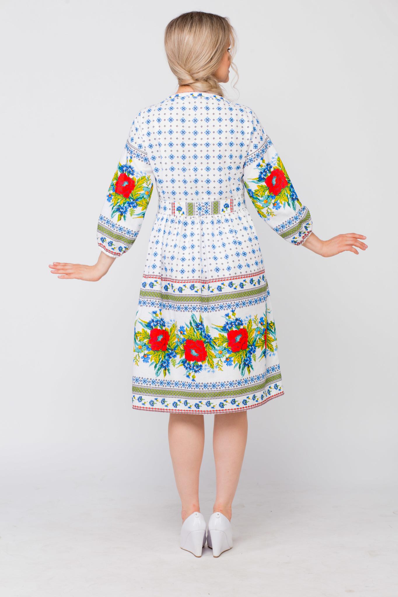 Платье льняное Маки-васильки вид сзади