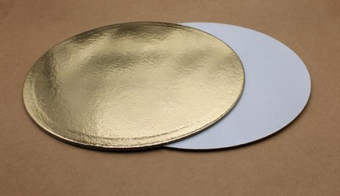 Подложка для торта 30см, толщ. 0.8 мм, золотая/белая, круглая
