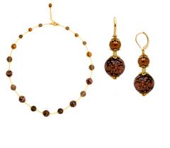Ожерелье и серьги из муранского стекла черные