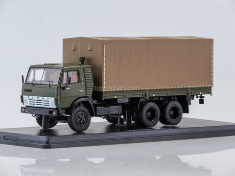 KAMAZ-53212 flatbed truck with awning khaki-brown 1:43 Start Scale Models (SSM)