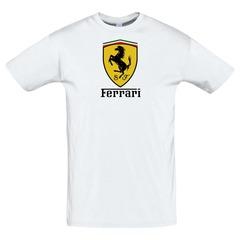 Футболка с принтом Феррари (Ferrari) белая
