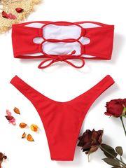 купальник раздельный бандо красный в рубчик на шнуровке сзади 3