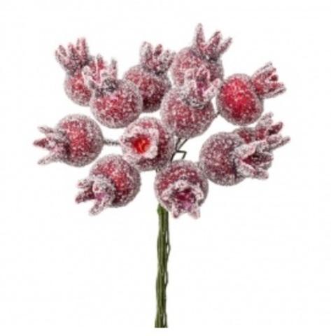 Набор ягод засахаренных на вставках 12шт., размер: D2,2x3xL11см, цвет: красный