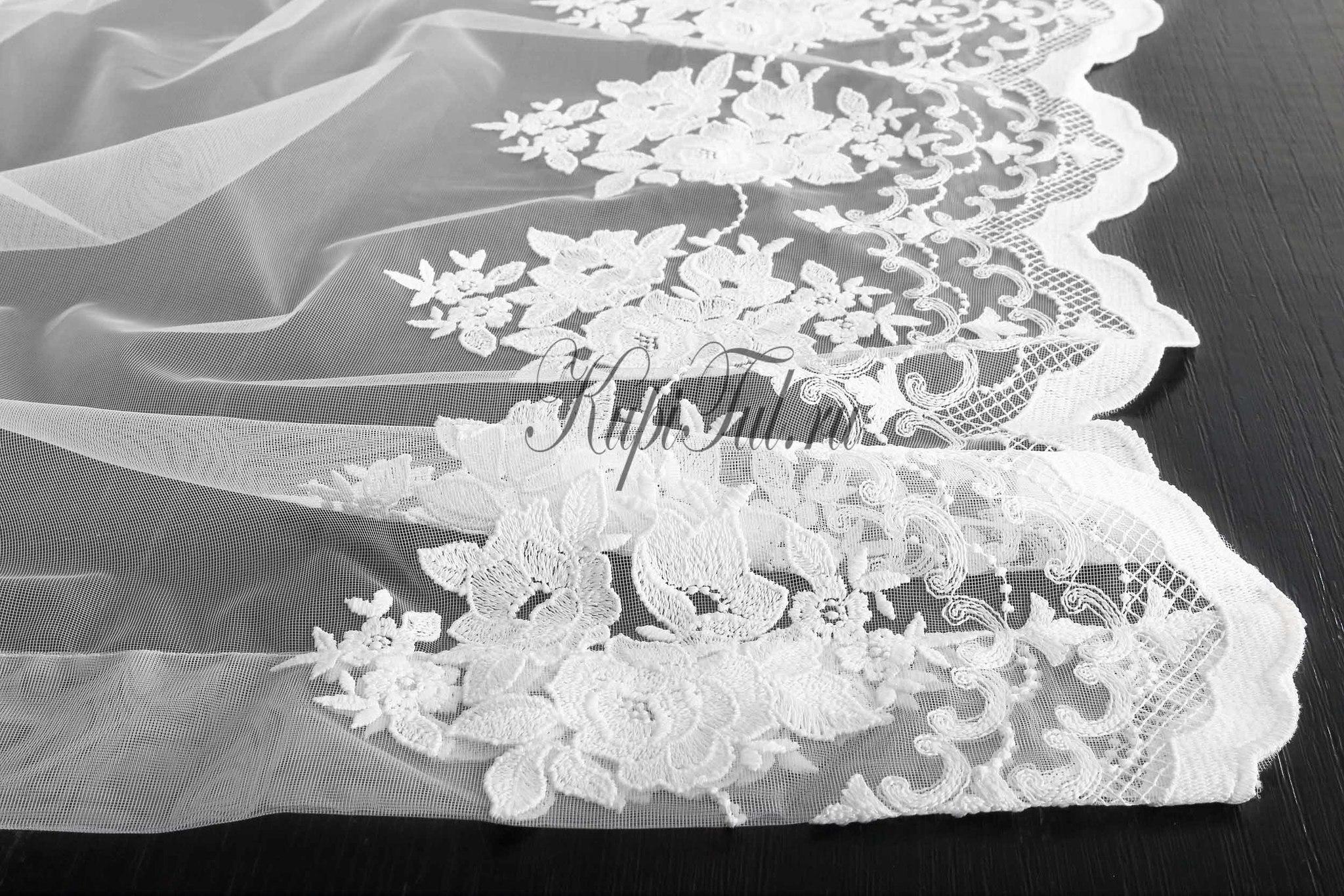 Микросетка с вышивкой Розы-Т (белая)
