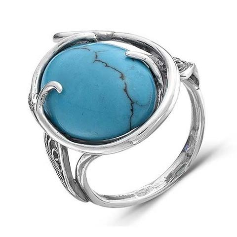 Кольцо с бирюзой и серебрением