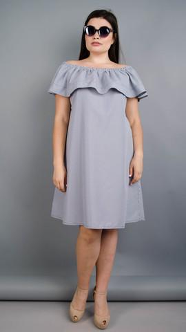 Бали. Летнее платье плюс сайз. Синяя полоса.