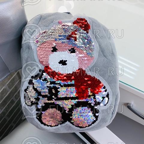 Рюкзак детский плюшевый серый с пайетками меняет цвет рисунок Мишка