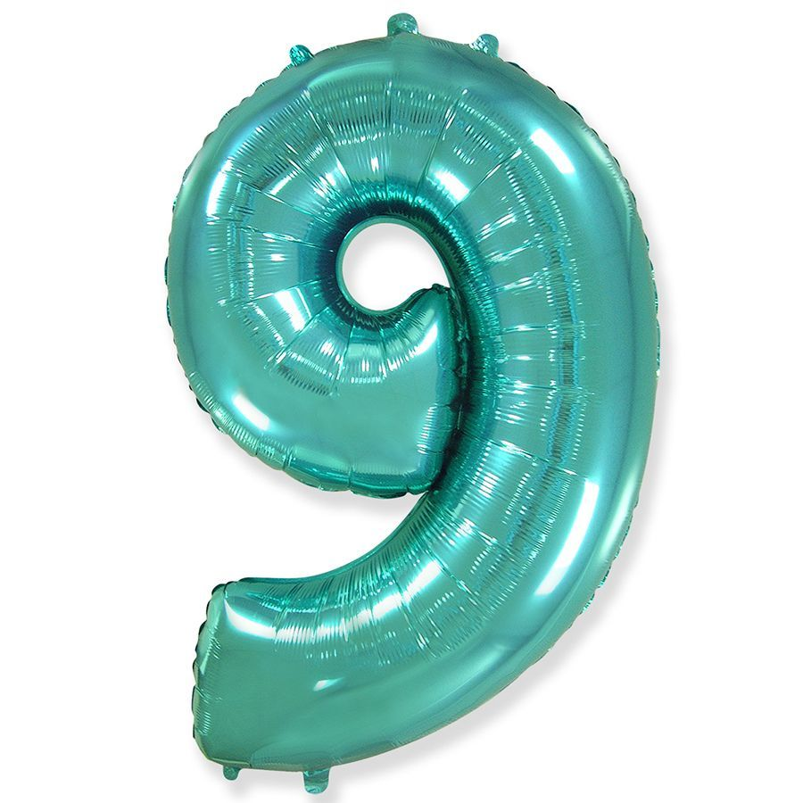 Фольгированный шар цифра 9 тиффани