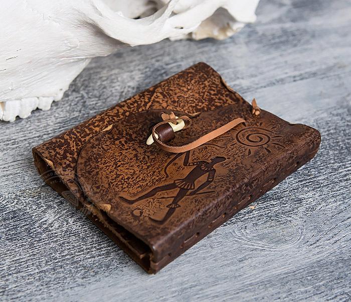 BY01-04-07 Кожаный подарочный блокнот «Лучник» с застежкой - клыком (А6) фото 03