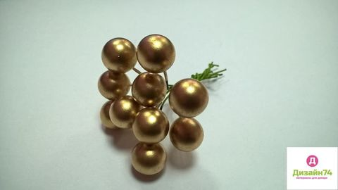 Рябина на ветке, цвет золото (упаковка 10 штук, одностороняя)