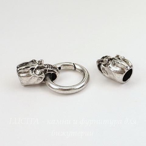 """Замок для шнура 8 мм из 3х частей """"Черепа"""", 55х25 мм (цвет - античное серебро)"""