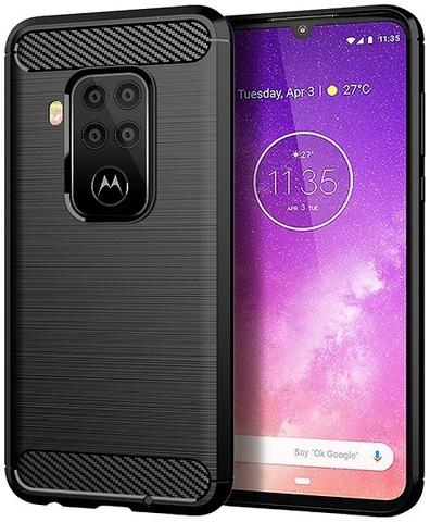 Чехол Motorola Moto One Pro (One Zoom/P40 Note) цвет Black (черный), серия Carbon, Caseport