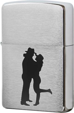 Зажигалка Zippo Cowboy Couple с покрытием Brushed Chrome, латунь/сталь, серебристая, матовая