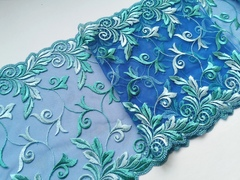 Вышивка на сетке, 23 см, светло-синий/зеленый, м