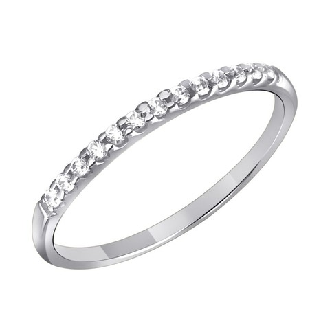 01К1211780- Кольцо из белого золота 585 пробы с дорожкой из фианитов