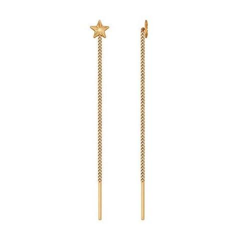 Серьги-продевки со звездами  из золота SOKOLOV арт.020599
