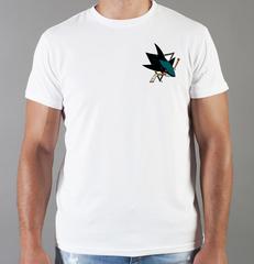 Футболка с принтом НХЛ Сан-Хосе Шаркс (NHL San Jose Sharks) белая 0013