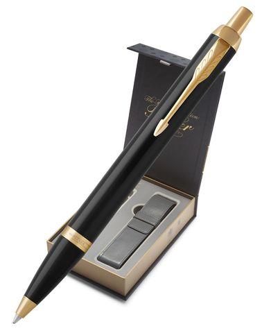 Подарочный набор: Чехол под ручку и Шариковая ручка Parker IM Metal, цвет: Black GT