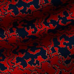 Красный полушелковый жаккард с тёмно-синими пятнами