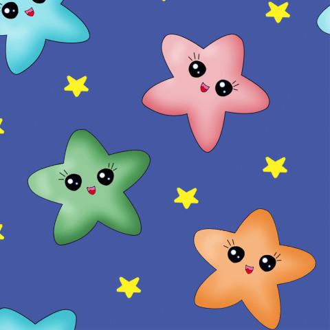 Мультяшные звезды на синем фоне
