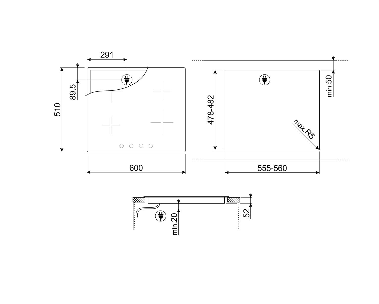 Индукционная варочная панель Smeg SI364BM