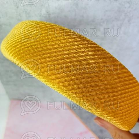 Бархатный широкий ободок для волос модный женский Тёмно-Жёлтый