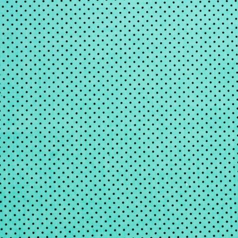 Ткань хлопковая черные точки на бирюзовом, отрез 50*80 см