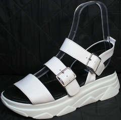 Открытые сандалии без каблука женские Evromoda 3078-107 Sport White