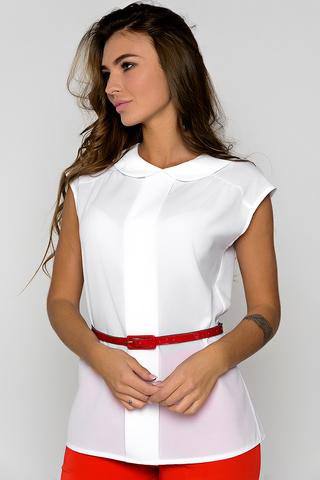 <p>Блузка из легкой, воздушной ткани сделает ваш образ притягательным и незабываемым. Закругленный воротник придает женственность. По спинке застежка на пуговицах. (Длина: 44-61см; 46-61см; 48-61см; 50-62см; 52-63см; 54-64см) <span>&nbsp;(Пояс в стоимость не входит).</span></p>