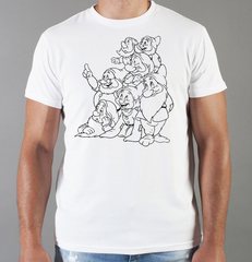 Футболка с принтом мультфильма Белоснежка и семь гномов (Snow White and the Seven Dwarfs) белая 002
