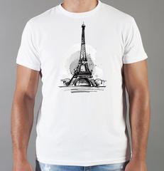 Футболка с принтом Париж, Франция, Эйфелева башня (France/ Paris) белая 004